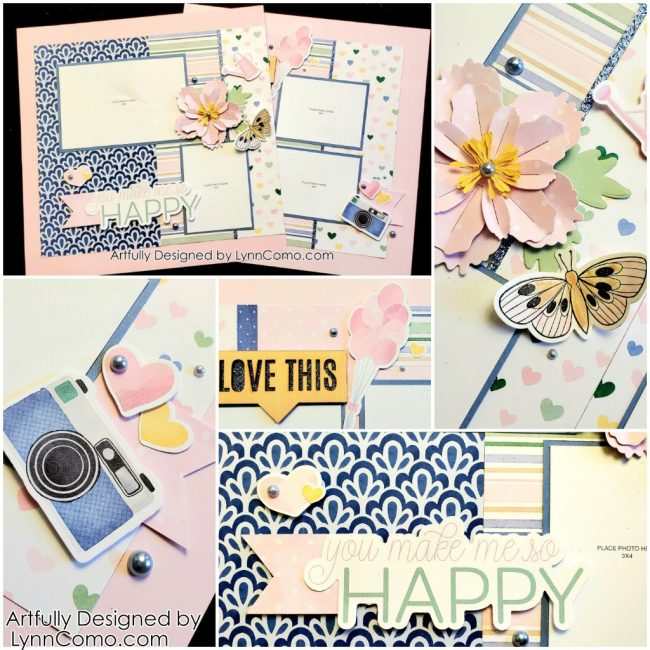Lovely Blue and Pink Scrapbooking