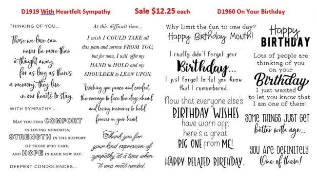 Sentiments for birthday or sympathy